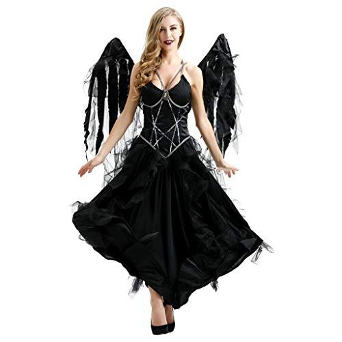 RENYAFEI Halloween Dark Angel Kostüm Karneval Halloween Gothic Kostüm Sexy Damen Kleid Cosplay Karneval Kostüm Erwachsene - Dark Black Angel Kostüm
