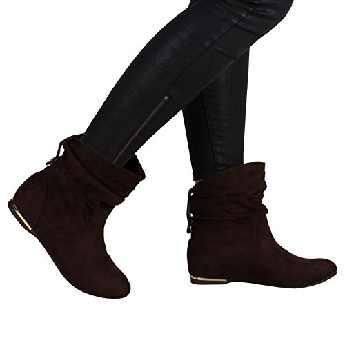 Flache Damen Stiefeletten Wildlederoptik Boots Schlupfstiefel Trendy Dunkelbraun