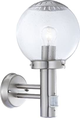 Globo E27 Bowle Ii IP44 Stainless Steel Outdoor Sensor Wall Light, Silver