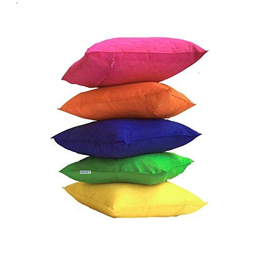 Cidizy Plain Multicolor Silk Cushion Cover 16