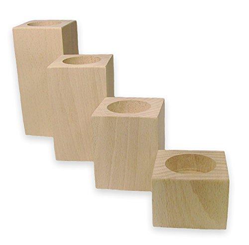 MidaCreativ 4-teiliges Teelichthalter-Set aus Holz, Buche massiv unbehandelt