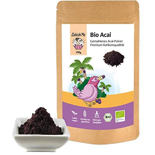 Acai Pulver Bio 130g - Premium Qualität. Das Superfood zum Abnehmen. Perfekt für Obst-Smoothies, Müsli und Mixgetränke (kontrolliert und abgefüllt in Berlin) DE-ÖKO-070