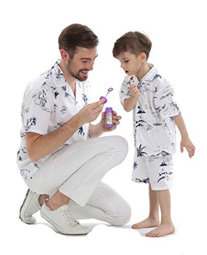 Passender Vater Sohn Hawaiian Luau Outfit Männer Hemd Junge Hemd Kurz Klassischer weißer Flamingo XL-2 - Boys Hawaiian Shirt