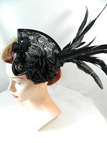 Mini Dreispitz schwarz weiß Marie Antoinette Barock Rokoko Western Headpiece Haarschmuck Dirndl...