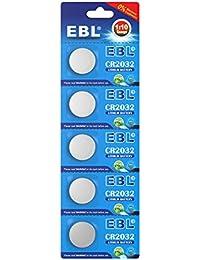 EBL 3V CR2032 DL2032 ECR2032 Pilas de Botón de Litio para Reloj Electrónicos - 5 Unidades