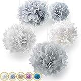 10er Set Premium Seidenpapier Pompoms | Deko für Ihre Hochzeit und Party | Hellgrau Grau Weiß | Inklusive PDF Aufbauanleitung
