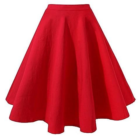 MIOIM® Damen Rock Knielang A-Linie Retro Vintage Sommer High Waist Tutu Basic Faltenrock Plissee Rock Casual Minikleider Elegent S-XXL
