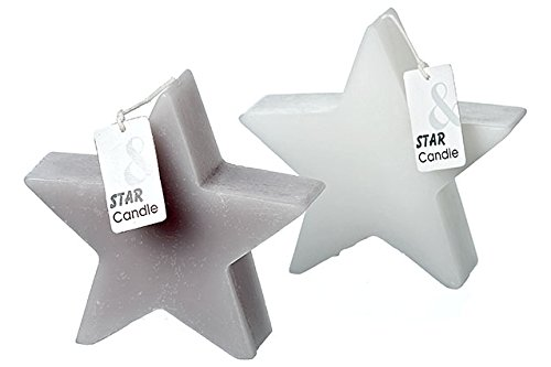 Kerze Deko Stern 15x4,5x14cm Wachs (3142100 grau)