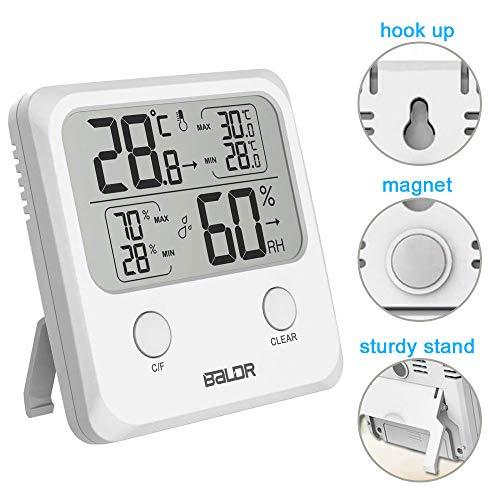SINZON Thermomètre/Hygromètre Intérieur, Température Humidité Numérique Électronique,℃/℉Commutable, Mémoire de Max/Min, Indication du Niveau de Confort,3 Façons d'utiliser pour Maison -Blanc
