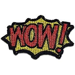 Toppe termoadesive - WOW! Comic bambini - rosso - 7,3x4,9cm - Patch Toppa ricamate Applicazioni Ricamata da cucire adesive