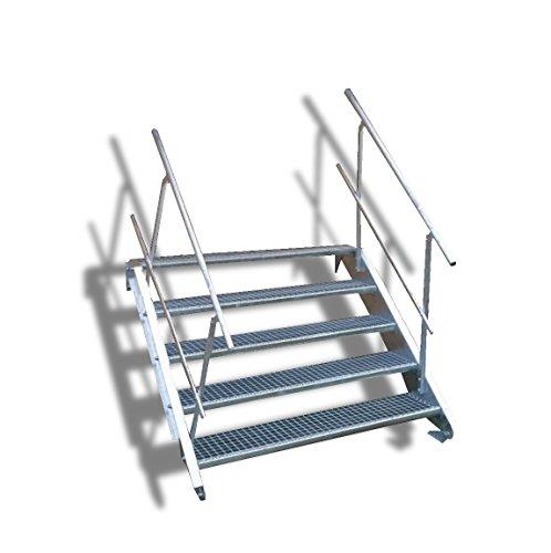 N&H Systeme 5-stufige Stahltreppe mit beidseitigem Geländer / Breite: 120 cm / Wangentreppe mit 5 Stufen / Inklusive Zubehör / Robuste Außentreppe Stabile Industrietreppe für den Außenbereich