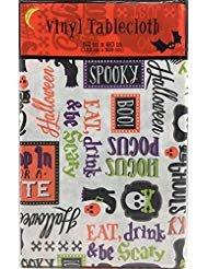 tze Flanell Rückseite Vinyl Tischdecke: Fun Süße Sprüche mit Icon Bilder von Totenköpfen und Bahnen auf weiß, Orange, Yellow, Green, Purple, White, 52