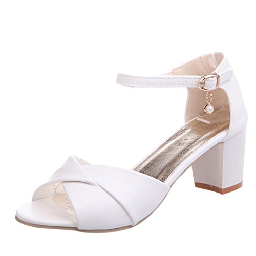Witsaye-Sandali Donna Bassi Eleganti Estivi Sandali Tacco Basso Infradito Donna Eleganti Sandali Scarpe Peep-Toe (40, bianco)