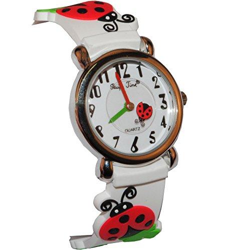 3-D Kinderuhr Marienkäfer Kleeblatt - Uhr Kinder Armbanduhr Silikon Tiere Glück Tier Mädchen Analog