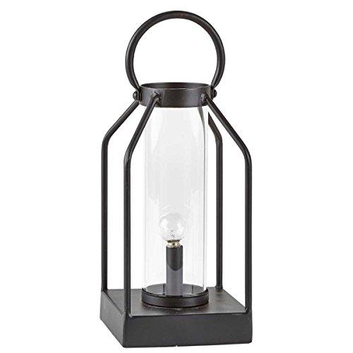 Villa Collection Laterne 25cm LED Schwarz mit Glaseinsatz und Griff Dekolaterne Dekolampe - Griff-collection