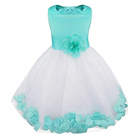 iiniim Kids Infant Girls Flower Petals Tulle Formal Wedding Pageant Dress Turquoise 8 Years