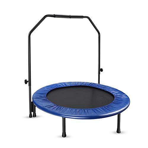 Fitness Trampolin, Vogek leise Stahlrohrrahmen mit Ultra-dicken Federn Indoor/Outdoor Haltegriff für Jumping Fitness Nutzergewicht bis 100kg, Ø 40inch