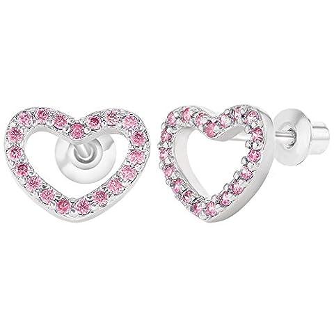 Rhodium Micro Pave Rosa Kristall Versilbert Herzform Schraubverschluss Baby Mädchen Ohrringe 9mm