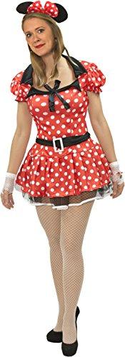 Mini Maus Kostüm Rot Weiss Damen XS - -