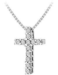 Pave Prive Women's 9ct White Gold Round White 0.2ct Diamonds Square Cross Shape Pendant Necklace of Length 45cm