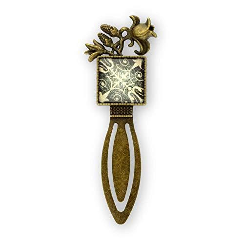 Bronze Mit Weißem Acryl (Buchzeichen * Lesezeichen mit Glas Cabochon Quadrat 20 mm Motiv in schwarz, weiß * Fassung Metall bronzefarben *)