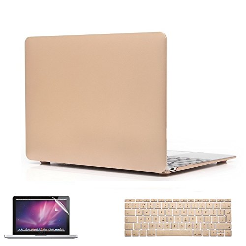 i-Buy 3in1 Kit Hard Shell Case + Keyboard Cover + Screen Protector for Apple Macbook 12 inch with Retina Bildschirm (Model A1534) - Gold