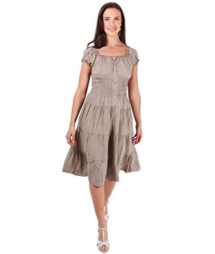 KRISP® Femmes Robe Patineuse Col Bardot Rétro Boho Chic Moka