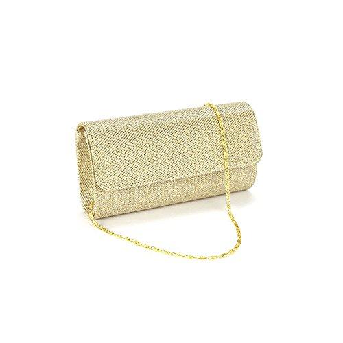 Anladia Damen Abendtasche Partytasche klein Clutch Brauttasche Handtasche Umhängetasche elegant gold