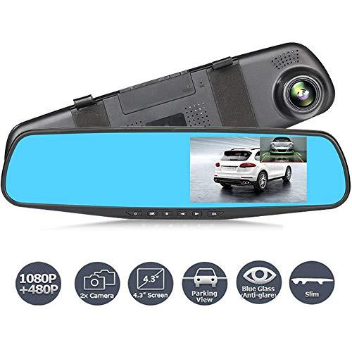Pang Hu Auto Fahren Recorder, 4,3 Zoll, 1080 P Full-HD-Front-Auto-Kamera-Videorecorder und Rückfahrkamera Doppelobjektiv mit Einparkhilfe G-Sensor Loop Recording Rückfahrkamera (Hd-videorecorder Recorder)