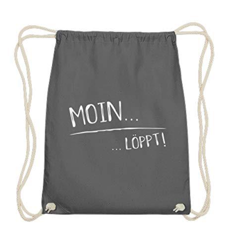 Shirtee Moin. löppt - in Norddeutschland läuft es einfach - Ostsee und Nordsee Sprachgebrauch - Baumwoll Gymsac -37cm-46cm-Grafit Grau
