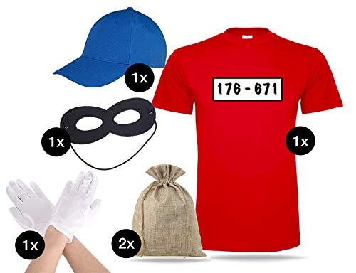 ler Gangster Panzerknacker Bandit Einbrecher Set Tshirt L Shirt rot, Mütze Cap blau, Augenmaske, Handschuhe, Geldsack für Damen und Herren Kostüm Fasching & Karneval - 176-671 ()