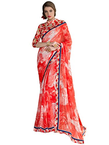Sarees (Vastrang Sarees Women\'s Tomato Red Color Beautiful Printed Pure Georgette Designer Party wear printed Saree with Art Silk Print Lace Border & same Border Matching Printed Art Silk Blouse_VS51