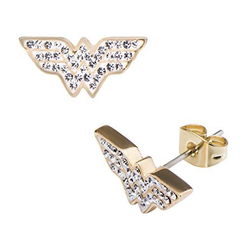 Officially Licensed Ladies DC Comics Wonder Woman Logo Diamante Stud Earrings