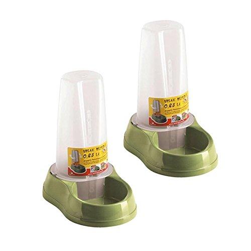 2 Stück Set Tier / Hunde / Katzen Futter / Wasser Spender . Kunststoff Farbe oilvegrün / transparent
