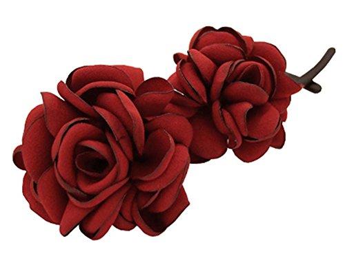 Clip de Torsion Simple Fleur Banane Clips épingle à Cheveux Verticale Ornements, Rouge Foncé