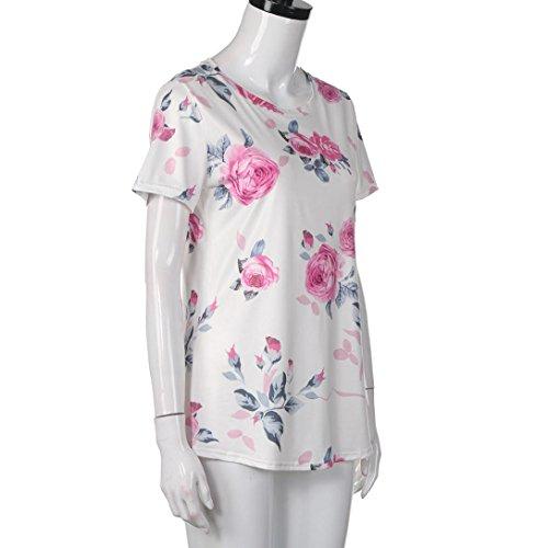 LONUPAZZ t-shirt à manches courtes femmes été imprimé fleurs t-shirt décontracté Blanc