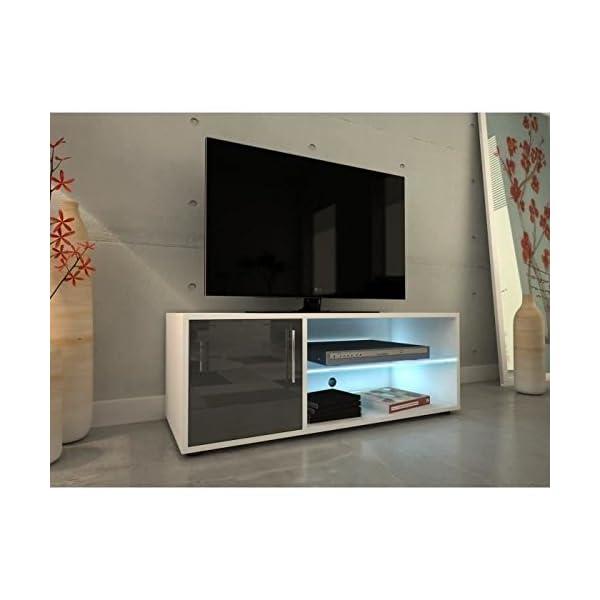 Kora Meuble Tv 100 Cm Avec Eclairage Led Laque Gris Deco Royale