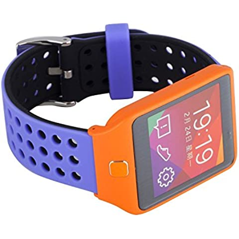 Greatfine Reloj Inteligente Smart Watch 22mm Silicona Banda de Reloj de la correa de para Samsung Galaxy Gear 2 R380 Neo R381 Live R382 / MOTO 360 2nd/Pebble Time / LG G Watch W100/W110/Urbane Smartwatch (Black