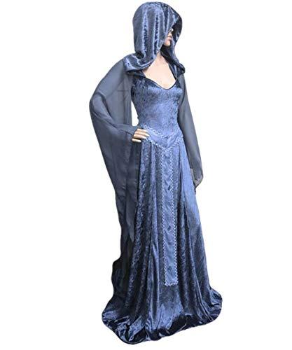 (LCXYYY Damen Gothic Mittelalter Kleider Vintage Gothic Victorian Kleid Kostüm Cosplay Verkleidung Damen Kleid Maxikleid Retro Kleid Rundhalskleider Halloween Kostüm Langarm Renaissance Gotisch)