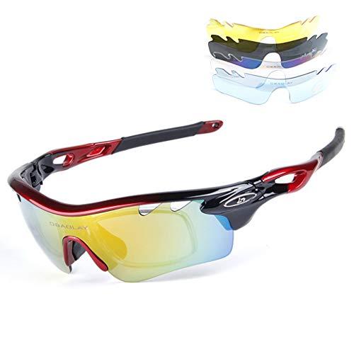 Demino Polarisierte Sonnenbrille mit 5 Wechselobjektiv für Männer Frauen Außen einen.Kreislauf.durchmachentreibende #3