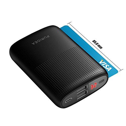 10000mah powerbank, puridea batteria esterna per cellulare portatile (2 puertos, lcd indicada) power bank para iphone 7/6/6s/6 plus/6s plus, ipad,  android, tablet