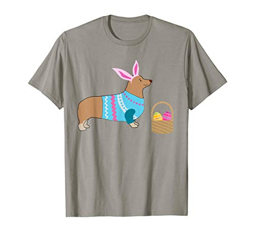 Corgi Ostern T-Shirt Hasenohren Hundebesitzer - Braun Hasenohren Kostüm