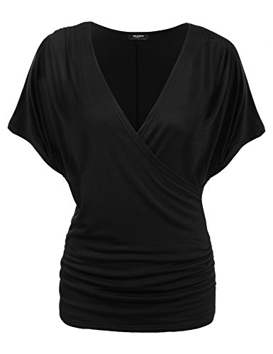 Zeagoo Damen V-Ausschnitt T-shirt Kurzarm Batwing Fledermaus Sommer Shirt Tunika Bluse(EU 36(Herstellergröße:S), Schwarz
