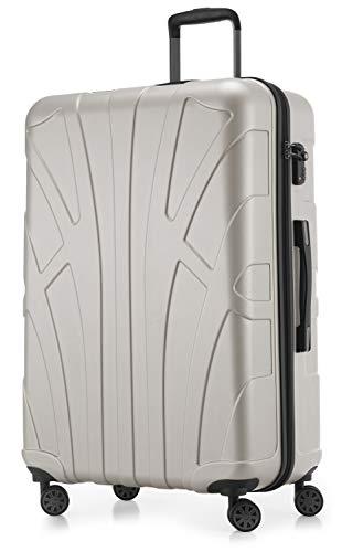 SUITLINE - Hartschalen-Koffer Koffer Trolley Rollkoffer Reisekoffer, TSA, 76 cm, 110 Liter,matt weiß Matt-weiß 92
