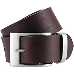 LINDENMANN- Hombre cinturón de cuero / cinturones hombres mann, xxl, marrón, 3934, tamaño / size: 90