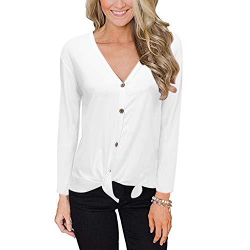 iHAZA Damen V-Ausschnitt Lange Ärmel Stricken Krawatte VorderseiteTasteNieder Hemden Tops(Weiß,Medium -