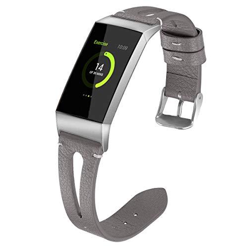 NikoStore Bands für Fitbit Charge 3,Grau Damen Männer Leder Armband für Fitbit Charge 3 SE - klein -