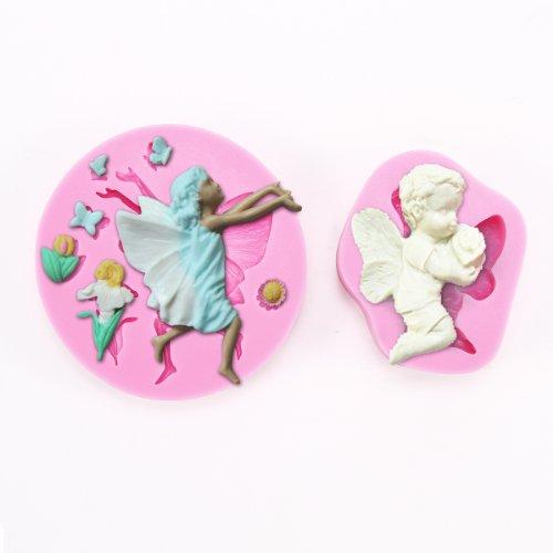 Anladia 2er 3D Effekt Engel Angel Blumen Schmetterling Torten Deko Silikon Ausstechform Ausstecher Marzipan Fondant