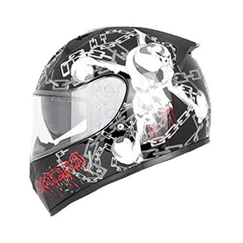 EDW Doppio Sport del Fronte Pieno Crash Moto Che corre Casco Urbano di Via della Strada Cavaliere Moto Touring Caschi Scooter-elmetto incl Doppia Visiera Collare Caldo,XXL(61~62cm)