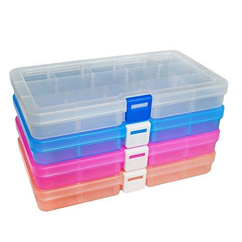 ewahrungsbox Einstellbar Fächer Sortimentskasten Schmuckschatulle Werkzeugcontainer (15 Raster X 4 Packungen, 4 Farben) ()
